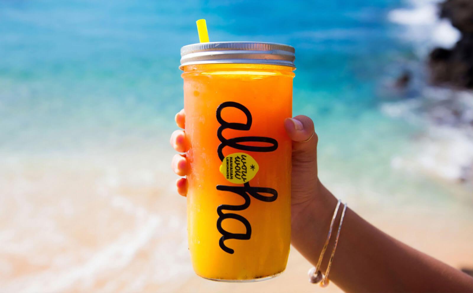 Wow Wow lemonade on the beach