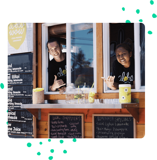 Happy employees at order window