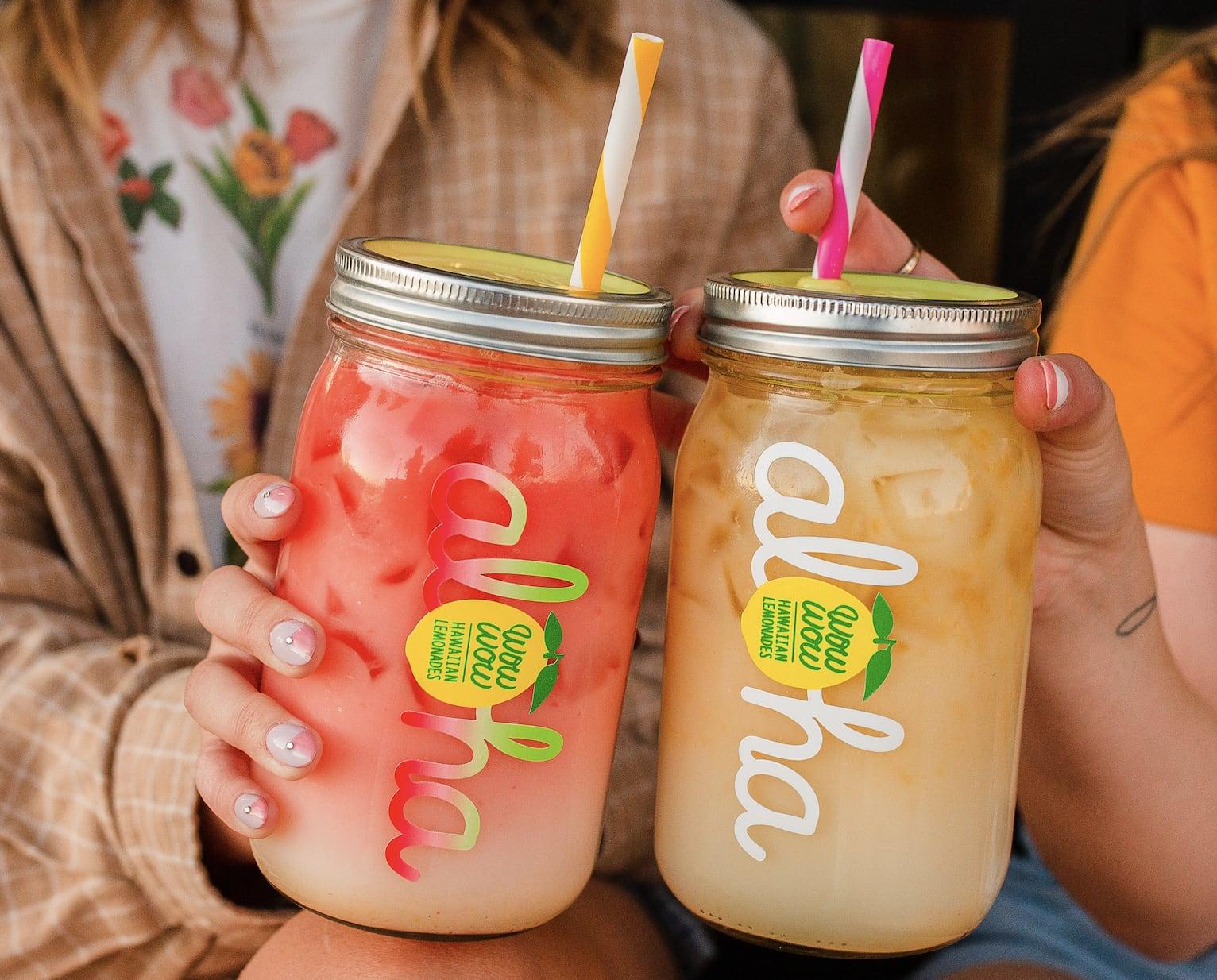 Drinks in Aloha glasses